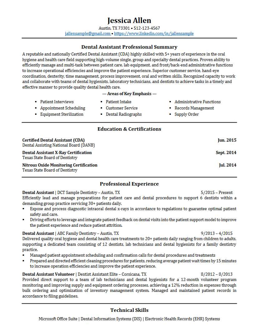 Dental Assistant Resume Resume Writing Services