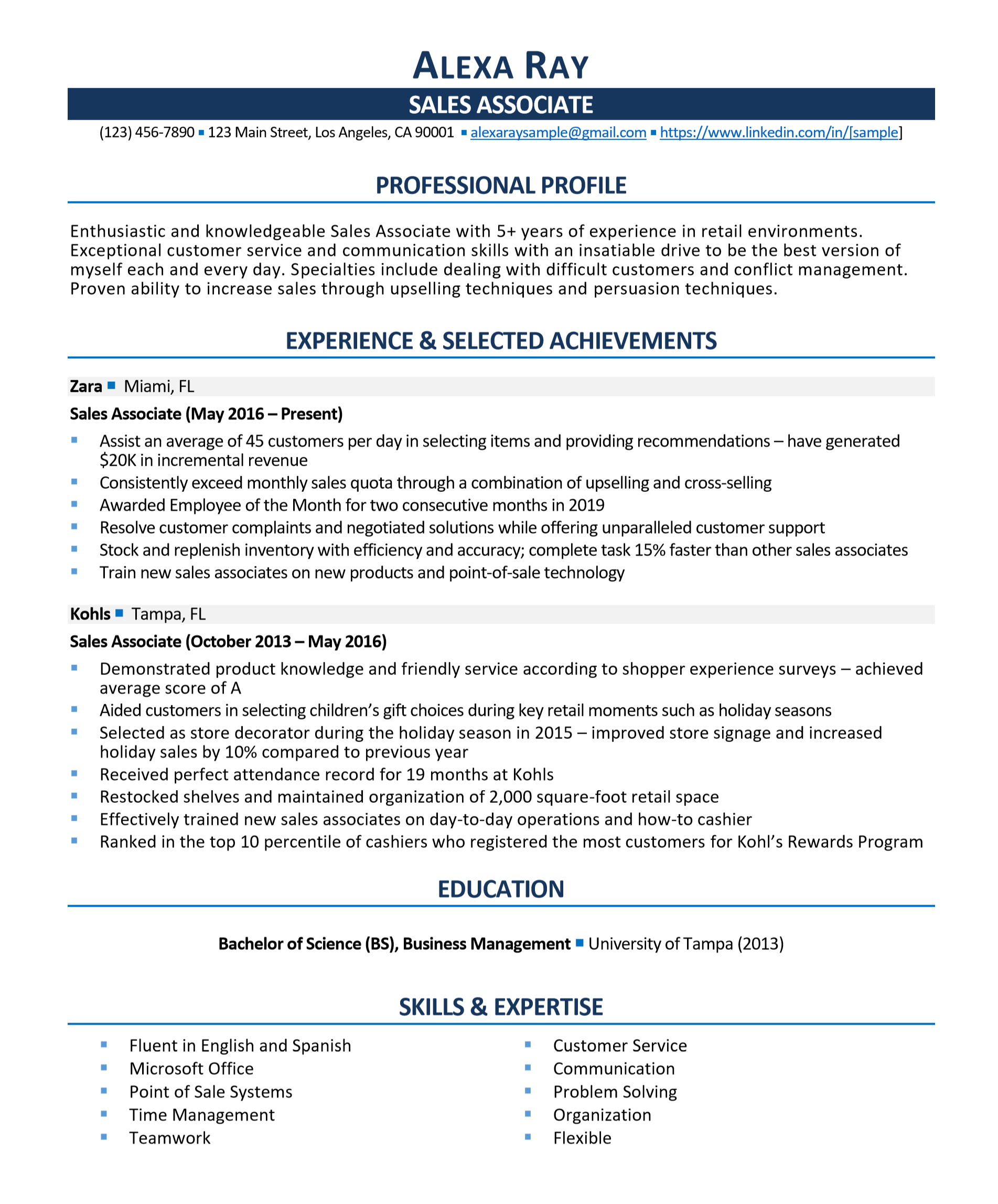Sales Associate Resume Resumego