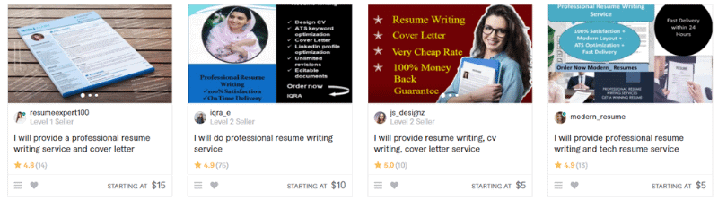 """example of Fiverr resume services""""><h3>Resume services that offer 24-hour turnaround times no matter what</h3><p>There's a reason why we don't offer 24 hour turnaround times for our services. The faster the turnaround time, the less time spent on writing the resume. The result? – A lower quality resume.</p><p>Like everything else, writing a great resume requires time. If you see resume services boasting about their speed, it means they aren't taking the necessary time to learn about your career needs, craft your resume, and review it with you.</p><h2>How Do Resume Writing Services Work? What is Their Process?</h2><p>Generally resume writing services all follow a very similar process.</p><p>They start with gathering information about you and what you've done throughout your career. From there, they'll write your job documents and send over a draft for you to look at. Given your feedback, they'll continue revising your resume until you feel like you've got a job winning resume.</p><h2>How to Spot Unreliable Resume Reviews</h2><p>Savvy shoppers are keenly aware of how important it is to check reviews before buying a product. However, it's also important to check the legitimate the reviews are to begin with. Depending on the type of review, it can be easy for any sketchy resume site to make up reviews or manipulate them. There are generally 4 different types of reviews:</p><h3>Reviews on the resume service's website:</h3><p>These reviews are the ones that you would find a resume company's website such as what you see below:</p> <img width="""